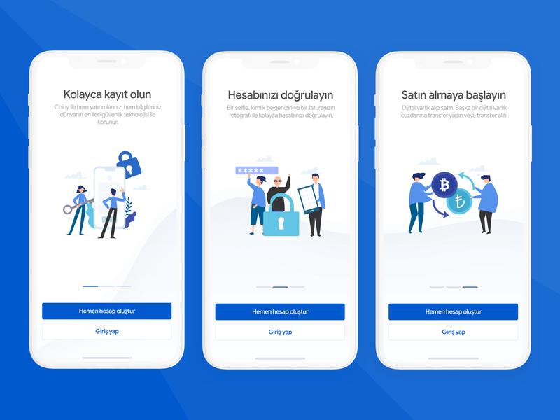 Onboarding for Crypto Wallet App swipe screens blue wallet crypto uidesign ftu onboarding character app