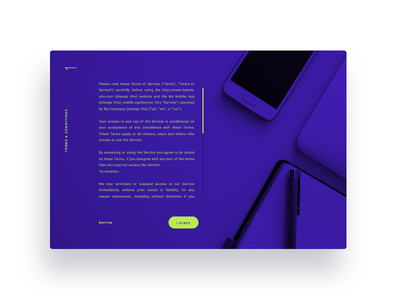 Daily Ui Challenge #089 - Terms of Service terms of service web design interface ux ui challenge dailyui