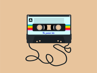 MixTape music tape k7 colors icon vector art flat design illustration