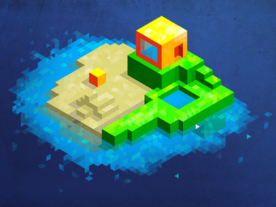 a cabin on the island (hexels + photoshop)