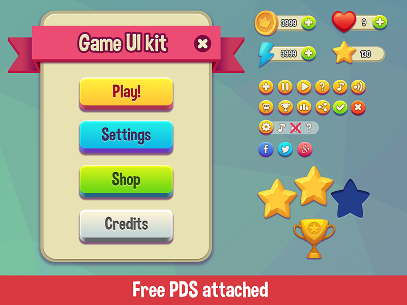 """Funtique"" - game UI kit - free PSD cartoon button play vector ipad iphone mobile psd free kit ui game"