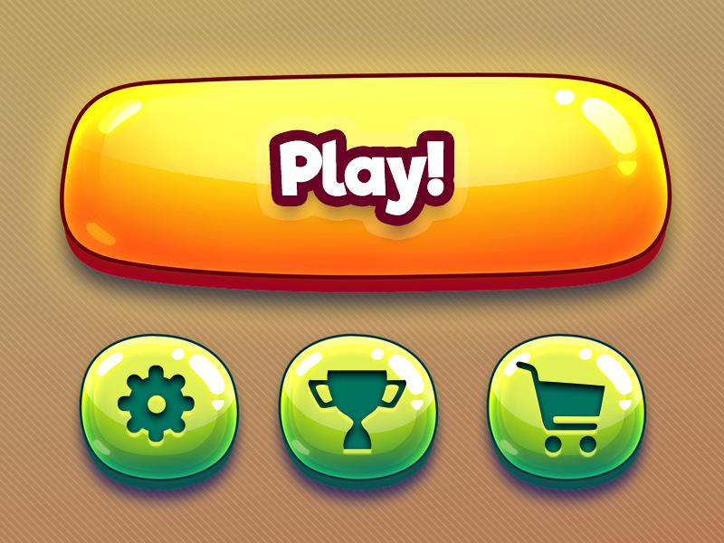 Cartoon mobile game GUI kit - concept by Vasili Tkach on