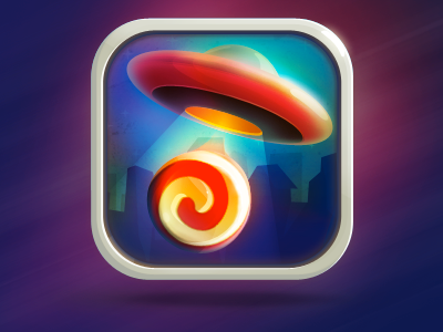 iOS game icon - in progress ios game icon ufo candy orange