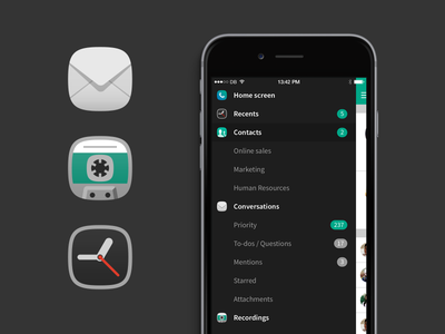Voca navigation icons illustration icon ui application