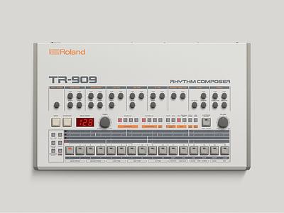 Roland TR–909 vector photoshop illustration