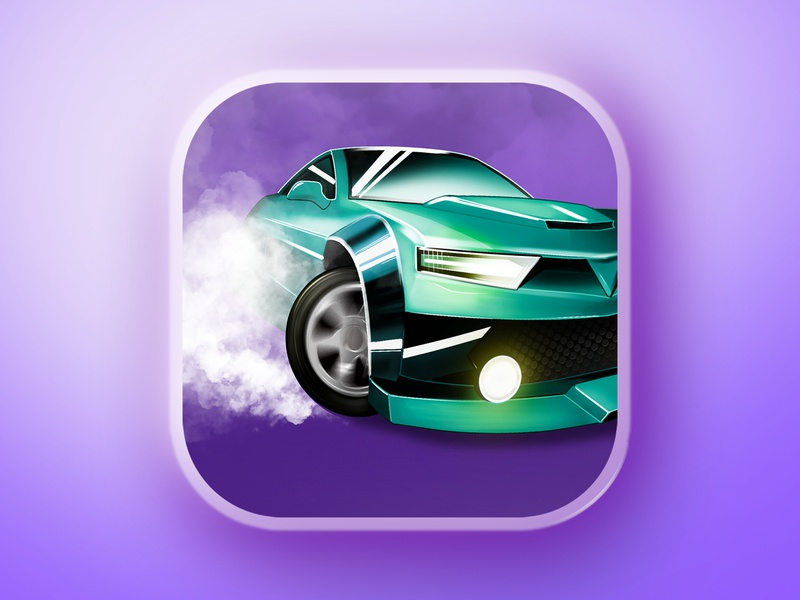 Icon - hypercasual mobile game - Drift iconography drift car purple game digital painting illustration hypercasualgames marketing design aso icon