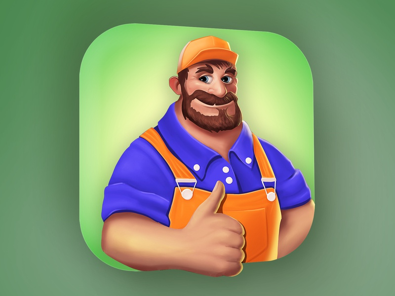 Game Icon - Character - Handyman procreate illustrator hypercasualgames game aso green digital painting illustration marketing design icon