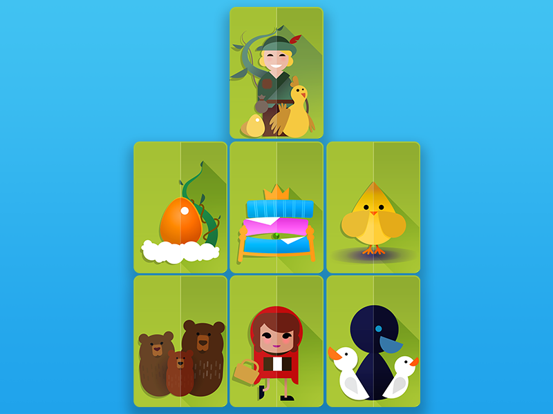 52 Pickup Jack nursery rhymes paper vector icons mobilityware 52 card game