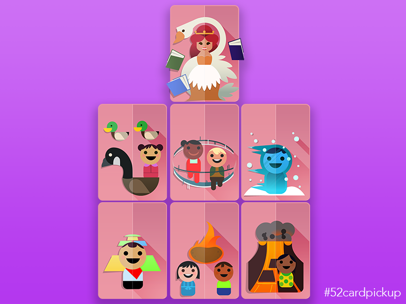 52 Pickup Queen flat design nursery rhymes card game vector paper mobilityware icons 52