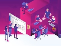 Isometric illustration vector at office