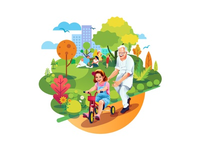 Joint Family art family shylesh bangalore indian india child kid illustrator designer grand father illustration