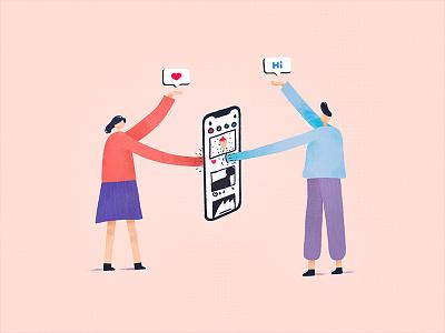 社交 instagram women man hi iphone x people illustraton illustrator