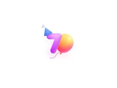 70 Happy Birthday!! balloons balloon vector logo icon ui illustration illustrator