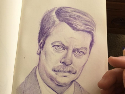 Ron Swanson sketch portrait sketch ron swanson