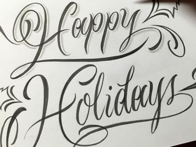 Happy Holidays script lettering