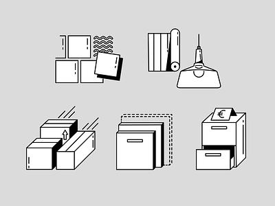 Service icon set clean minimal simple box stroke renovating furniture icons