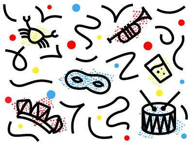 Carnaval! krabbegat party limburg brabant carnaval confetti fun hike one illustration