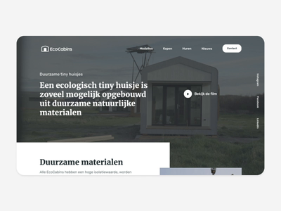 EcoCabins (Free Figma) freebie dutch onepager website web ui  ux cabins logo netherlands house tinyhouse tiny after effects after aftereffects mockup landingspage download figma free