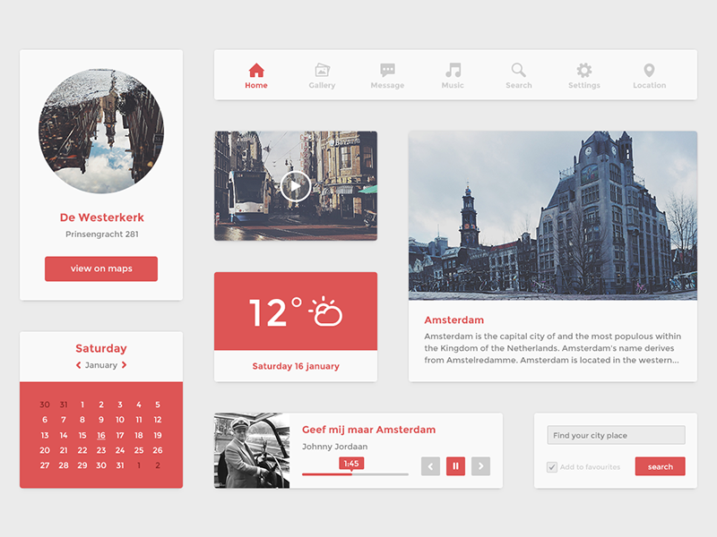 Flat UI kit (psd) scrtpxls ui interface kit free psd freebie amsterdam icon player widget vector