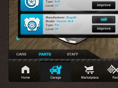 Streetking racegame social engine garage media free facebook game street race icons blue ui gui button home marketplace icon glow