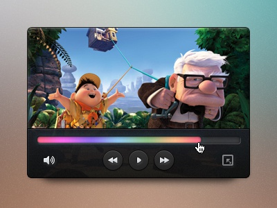 Mini video player video mini player ui gui slider button icon fullscreen psd sound hugo secretpixels