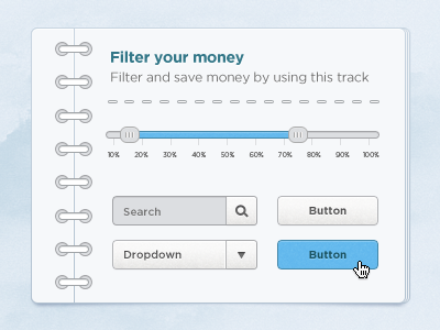 Slidernote ui gui popup note button slider slide psd free hover clean rings