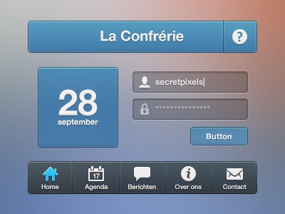 Le Confrerie UI app iphone ui gui header footer info home agenda message about contact button login icon icons psd secretpixels