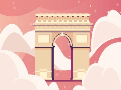 Arc de Triomphe - France pink flat triomphe france landmark