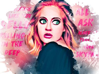 Adele painting digital portrait pink adele singer