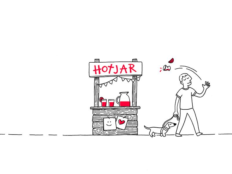 Why customers stop paying for Hotjar churn lemonade stand header blog character design 2d hotjar illustration