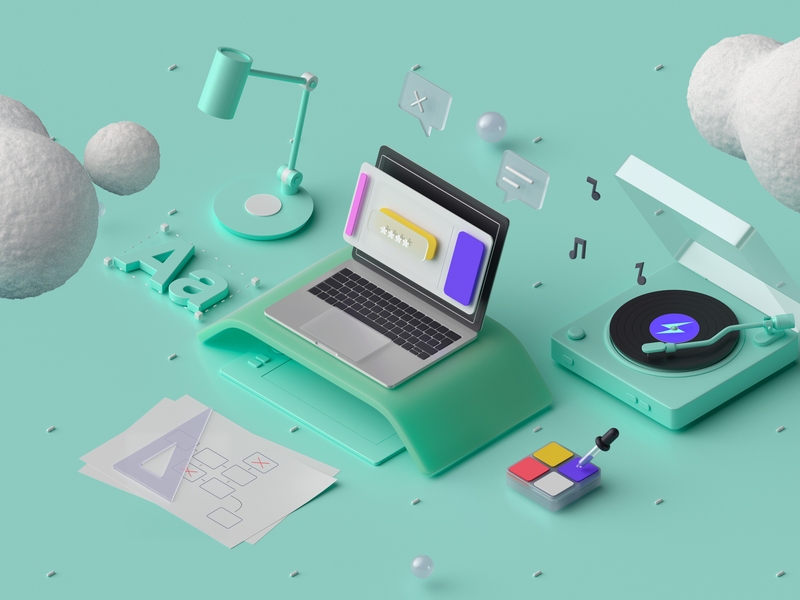 10Clouds: 3D Services #4 isometric color palette services gramophone user experience user interface corona c4d 3d product design design music illustration isometry