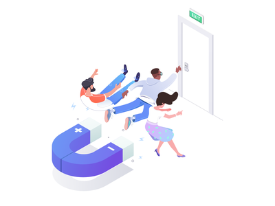 Reduce churn magnet characters work office affinity character illustration isometric rboy rocketboy