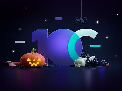 This is Halloween! software house it developer code spider skull halloween pumpkins render