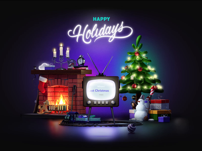 Happy Holidays! candles c4d 3d animation gift fire christmas tree holidays train snowman card christmas xmas 10clouds