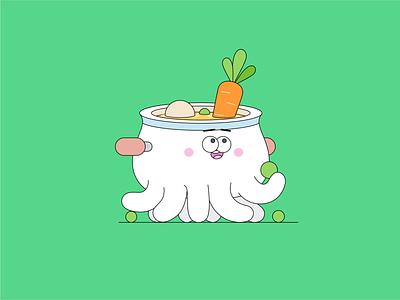 Octocup #1 vegetables carrot rocketboy soup trap kitchen illustration sticker octocup