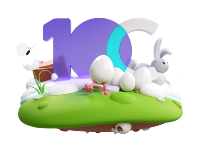 Easter Day character illustration corona c4d 3d spring logo rabbit egg easter 10clouds