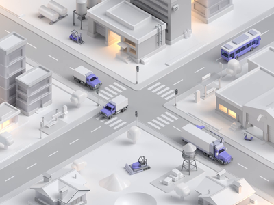 Traffic city animation 3d animation traffic vehicles isometric c4d 3d 10clouds