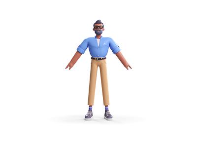 Lucas animation 3d render corona c4d 360-degree design character t-pose