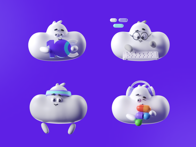 10Clouds illustration design branding employer brand mascote clouds modeling c4d 3d character 10clouds