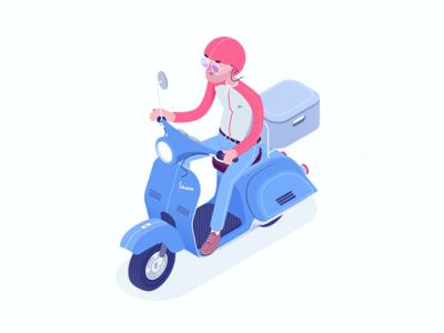 Vespa wip motorroller delivery box pizzaboy isometric character vespa rocketboy rboy