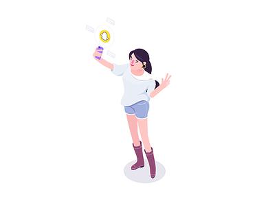 Snapgirl selfie socialmedia girl snap isometric character rboy rocketboy