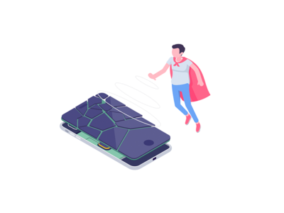 Hero icon iphone screen repair character isometric rocketboy rboy