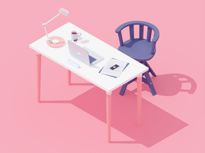Workplace #1 work test macbook eye candy pink workplace office c4d 3d isometric rocketboy rboy
