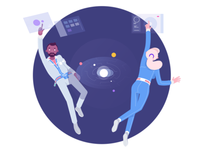 Future of work #2 work planet rocketboy rboy manager isometric future employer cosmos character
