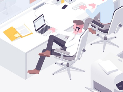 Office life #1 macbook employer work office illustration isometric rocketboy rboy