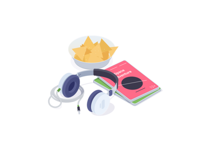 Movie Time dvd headphones chips movie illustration icon isometric rocketboy rboy