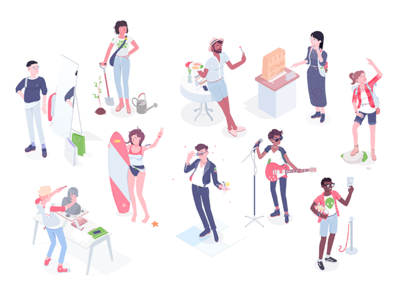 Quiz personalities airbnb characters personalities summer quiz illustration isometric rocketboy rboy