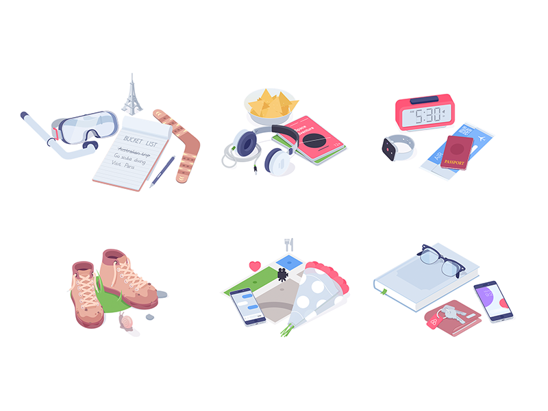 Quiz icons summer rocketboy rboy quiz icons isometric illustration characters airbnb