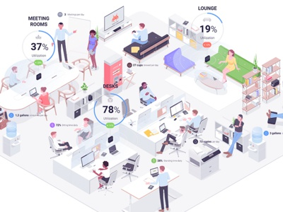 VergeSense employer team furniture retro meeting office work infographic illustration isometric rocketboy rboy