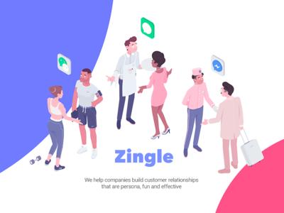 Zingle customer character connection zingle illustration isometric rocketboy rboy